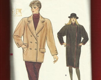 Vintage 1980s Vogue 8776 Strong Shoulders Notched Collar with Wide Lapels Coats Tapering to the Hemline Size 16