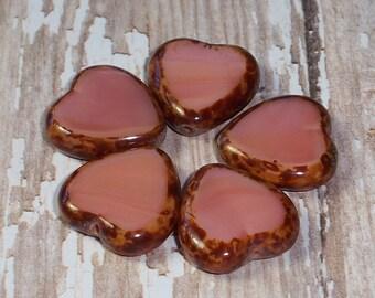 Pink Heart 15mm Bead Coral Picasso Czech Glass BE STILL My HEART (6)