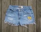 SALE- Vintage light wash London Jean high waisted distressed cutoff shorts with 90s keep smiling patch size 8