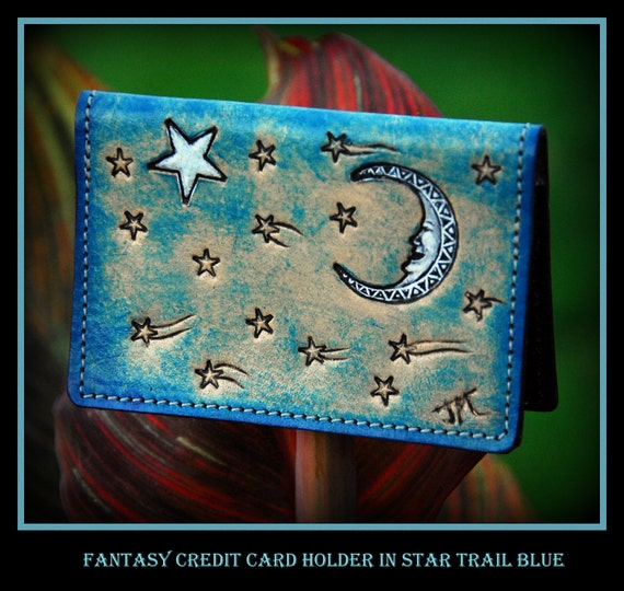 Fantasy Stars and Moon Leather Card Case, Moon Beam Maroon, Cosmic Dust Green, Star Trail Blue, perfect size for credit and business cards,