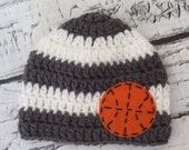 Basketball Crochet Knit Boy Hat with Felt Appliqué - sizes Baby to Teen - Baby Sports Hat