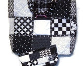 Black & White Quilted Tote with Black and  Silver Beaded  Handles, ribbon,  snap closure. with a bonus - coupon clutch organizer.