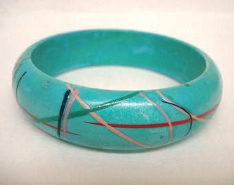 Rare VINTAGE BRACELET Hand Painted Bangle Lightweight Space Age Decoration