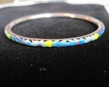 Vintage sterling silver enameled bangle bracelet