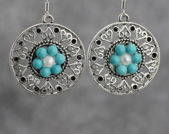 Turquoise flower earrings Bridesmaids gifts Free US Shipping handmade Anni Designs