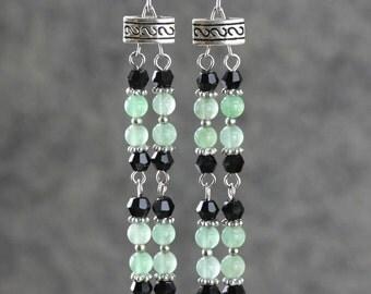 Jade Linear long dangling earring bridesmaids gifts Free US Shipping handmade Anni Designs