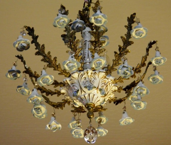 Vintage chandolier hanging porcelain roses are not