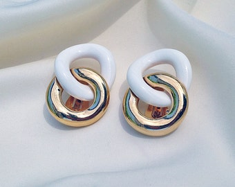 Givenchy vintage gold and white double ring earrings