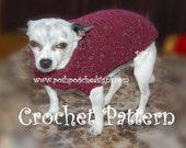 Instant Download Crochet Pattern - Turtleneck Dog Sweater - Small Dog Sweater 2-20 lbs