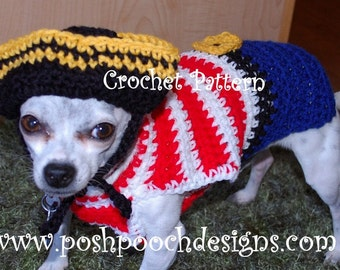 Instant Download Crochet Pattern - Dog Pirate Sweater and Hat - Small Dog 2-20 lbs