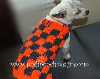 Instant Download Crochet Pattern - Checkered Dog Sweater  - Small Dogs 2-20 lbs