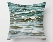 Velveteen Pillow Cover,  Beach Nautical Turquoise Teal Ocean Abstract Ripple Wave Sparkling Seascape Indigo Blue Ombre, Living Room Decor
