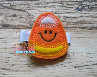 Infant toddler Girl Hair Accessories -Candy Corn Embroidered Clip- Boutique Felt Halloween Hair Clippie-No slip grip