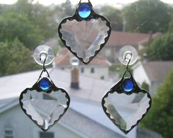 September Birthstone Heart|Stained Glass Suncatcher|Heart Suncatcher|Stained Glass|Blue|Sapphire|September Birthday|Handcrafted|Made in USA