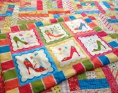 """Twin sized Quilt and pillow sham  """"Objects of Desire"""" High Heel Pumps Fashionista handmade"""