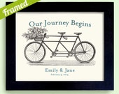 Gay and Lesbian Wedding Gift Our Journey Begins Framed Artwork Bicycle for Two Personalized Art Engagement Tandem Bicycle for Gay Couples