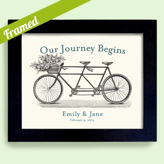 Wedding Presents For Gay Couples : Gay and Lesbian Wedding Gift Our Journey Begins Framed Artwork Bicycle ...