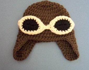 Crochet Aviator Hat Baby Aviator Hat Baby Pilot Helmet Hat -