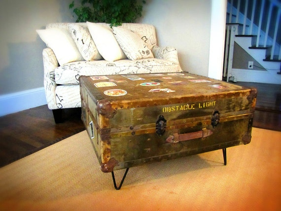 Antique U.S. Government Trunk Coffee Table