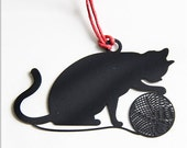 """6 x 5 cm """"Black Cat"""" Metal Bookmark (a.ca)"""