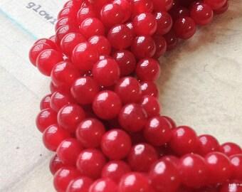 6 mm Pastel Round Dark Red Flower Jade Gem Stones (.mnu)(.gz)
