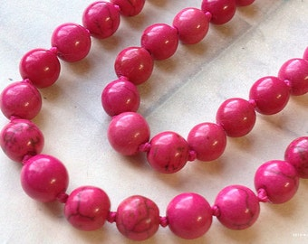SPECIAL OFFER 1 Piece of 48 inch Round Hot Pink Colour Turquoise Necklace (c.m)(g.g)