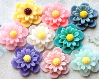 8 Pieces (4 Pairs) of 19 mm Daisy Chrysanthemum Resin Flower Cabochons of Assorted Colour (.as)