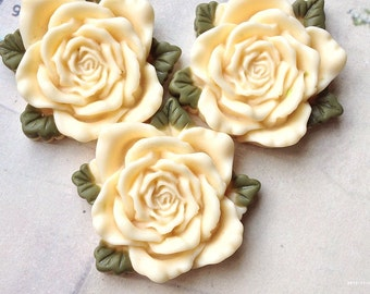 40 mm Milky Yellow Resin Rose Cabochon  (t.t)