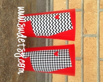 Alabama / Auburn tailgating tumblers, My heart belongs to .... Christmas Gift, SET OF 2