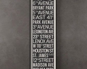 New York City Vintage Subway Roll Sign, Typography Scroll, Wall Art, Fine Art Print, Vintage Decor, Industrial Art, Monochrome, NYC Decor