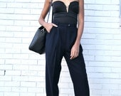 Vintage Deep Blue-Black RALPH LAUREN MINIMAL Classic Pleated Cuffed High Waist Lined Trousers