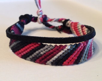 Red, Black & White Ombre Stripes - Black Suede - Friendship Bracelet