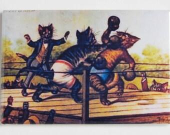 Boxing Cats Fridge Magnet