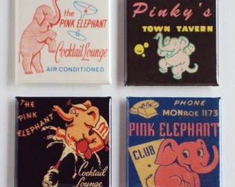Pink Elephant Fridge Magnet Set