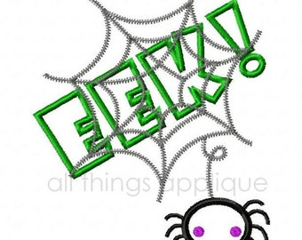 EEK Spider Web Applique Design - 3 Sizes - Halloween Applique Design - INSTANT DOWNLOAD
