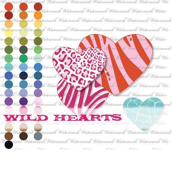 heart clip art valentine clipart Zebra clipart clip art, leopard clipart clip art, tiger clipart clip art, giraffe  : L1174 v301 50