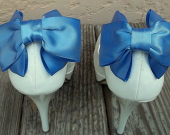 Wedding Bridal  Satin Bow Shoe Clips - set of 2 -  Bridal Shoe Clips, many colors to choose from, Womens Accessories Prom Dance Confirmation