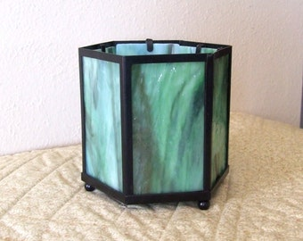 Green  Hexagon Shaped Candle Holder with Green & White Streaky Art Glass ~On Sale~