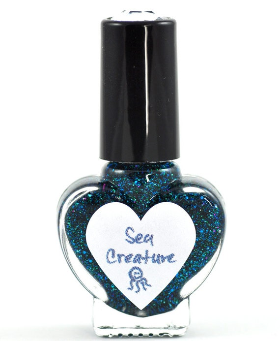 Sea Creature Blue and Green Glitter Nail Polish 5ml Mini Bottle