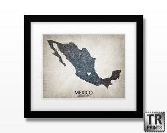 Mexico Map Art Print - Home Is Where The Heart Is Love Map - Original Custom Map Art Print Available in Multiple Size and Color Options