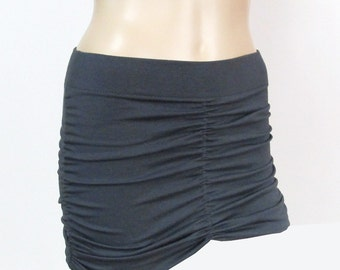 Ruched Yoga Skirt to Create Skirted Yoga Pants-Layering on Yoga Pants-360 Degree Ruching-Hand Dyed Bamboo/Organic Cotton Jersey-XXS to Large