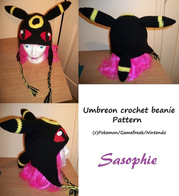 Crochet Umbreon : PATTERN - Umbreon crochet beanie - PDF