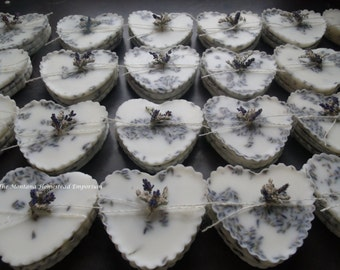 25 Lavender Premium beeswax melting tarts wedding favors table gift custom labels heart love gift bags made in Montana wedding favors