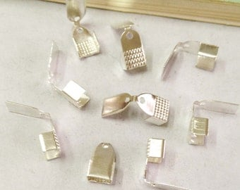 Crimp End Fastener Clip -200pcs Silver Plated Clasp Clips Wholesale Jewelry Findings 6x10mm