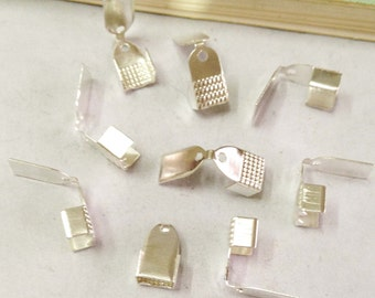 Crimp End Fastener Clip -200pcs Silver Plated Clasp Clips Wholesale Jewelry Findings 5x9mm