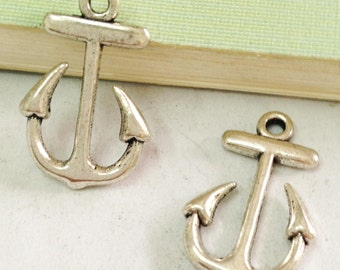 Anchor charms -20pcs Antique Silver Anchor Charm Pendants 15x23mm A502-5