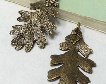 5pcs 26x47mm Antique Bronze Lovely Thick Leaf Leaves Charm Pendants F408-1