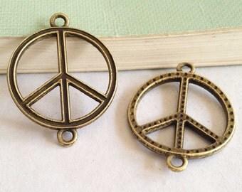 15pcs Antique Bronze Peace Symbol Connector Charm Pendants Link 22mm D209-6