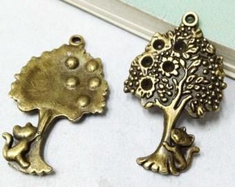 15pcs Antique Bronze Tree Charm for Necklace Pendants 22x37mm F205-1