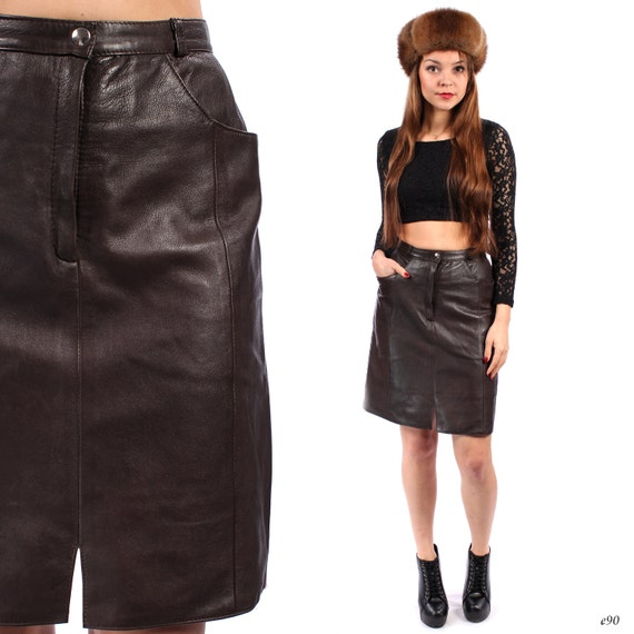 leather pencil skirt high waisted vintage 90s by betaapparel